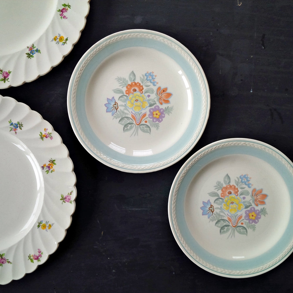 Mix and Match Vintage Dinner & Salad Plates Collection - Clarice Cliff Dimity Dinner Plates - Springtime Bouquet 1930's & 40's