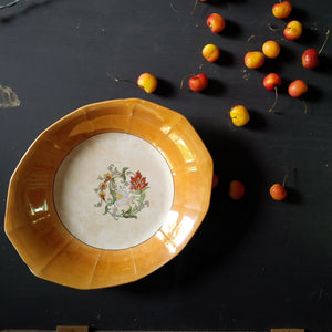 1920's Clinchfield China Serving Bowl - Rare Fluted Lustreware Medallian Pattern, Handpainted