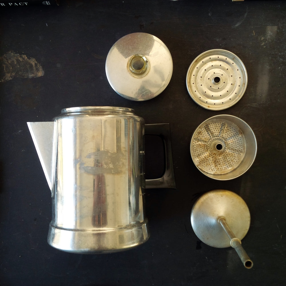 Vintage 1960s Comet Coffee Pot Percolator - Aluminum 9 Cup Capacity - Kitchen & Camping Ware