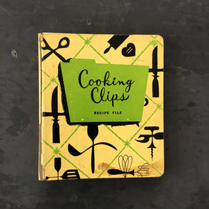 Vintage 1950s Cooking Clips Recipe File by Holson - Yelllow & Green Kitchen Binder
