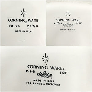 Vintage 1960's Corning Ware Cornflower Casserole Dishes - Set of Three Quart Sizes