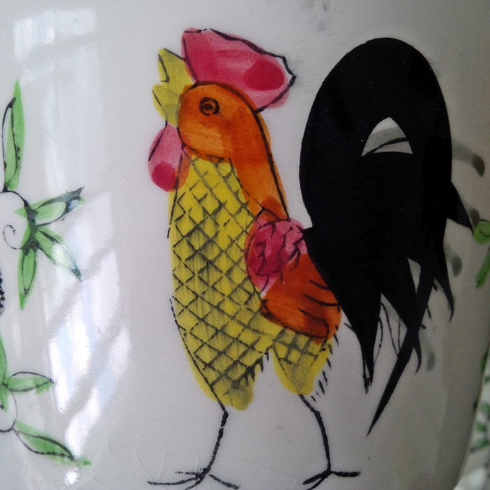 Vintage Cow & Rooster Covered Dish - Handpainted Crock for Butter and Cheese - 1960's Japanese Kitchenware