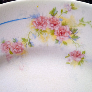 Crown Potteries Co Vintage Floral Plate - Pink Roses with Blue Stripe C.P.Co - 1920's