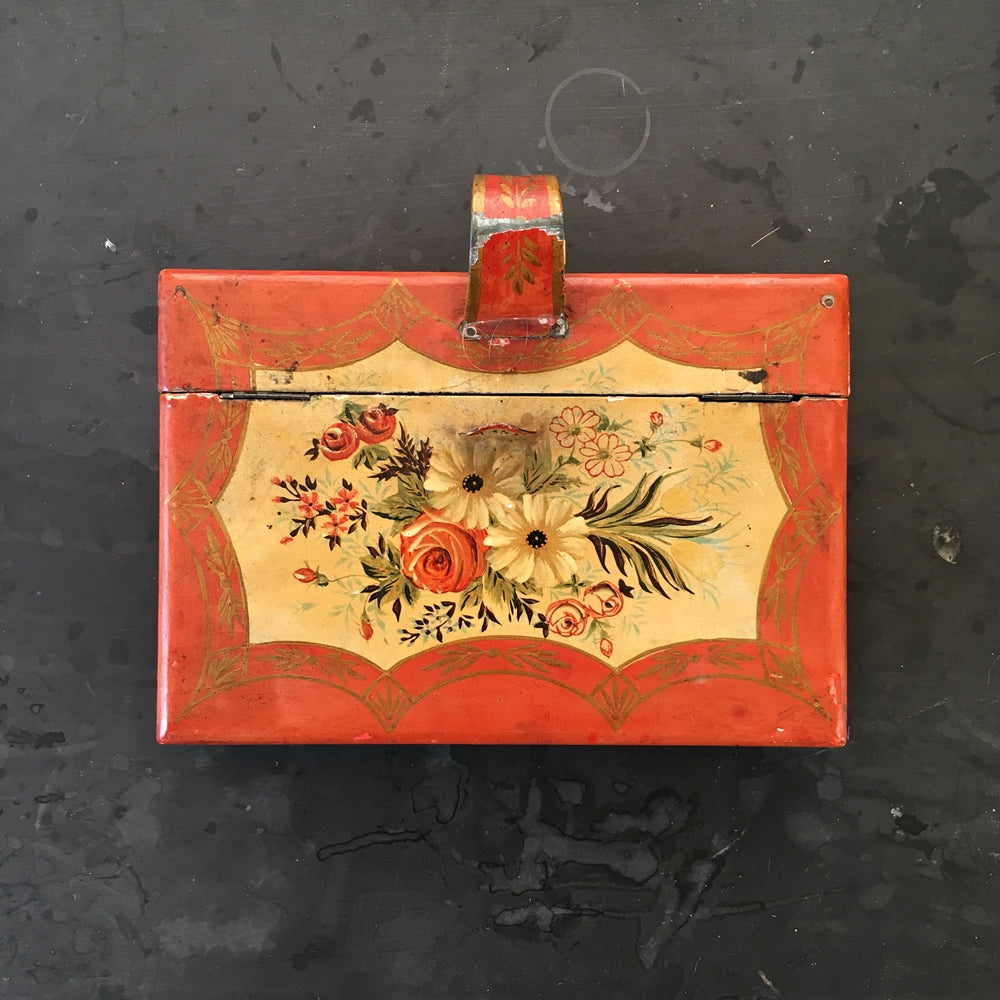 Vintage Wood Crumb Pan Box Key Cabinet - Handpainted Floral Wood Box Made in Japan