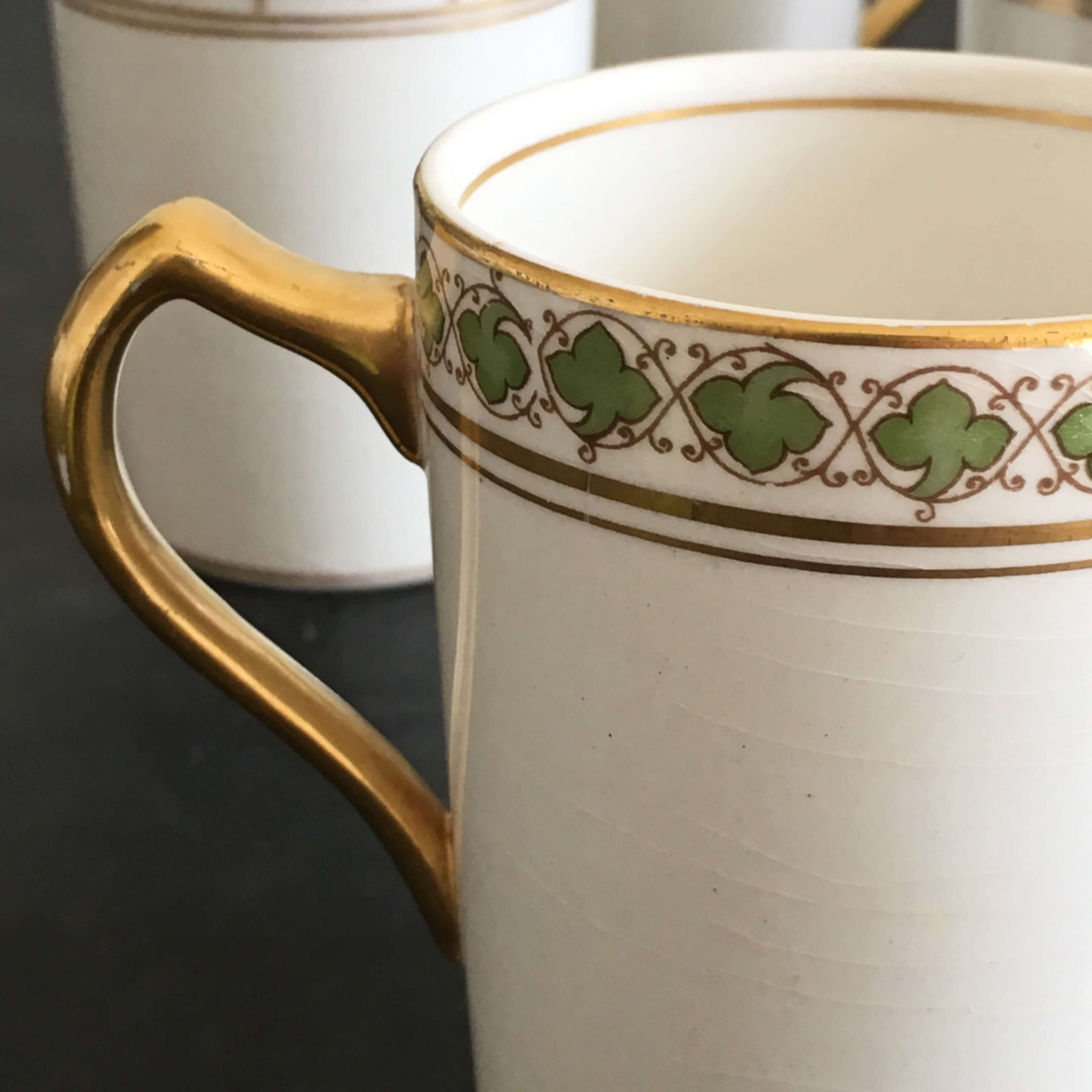 Vintage Green and Gold Demitasse Cups - Set of Five - Ivy Style border with Gold Handles
