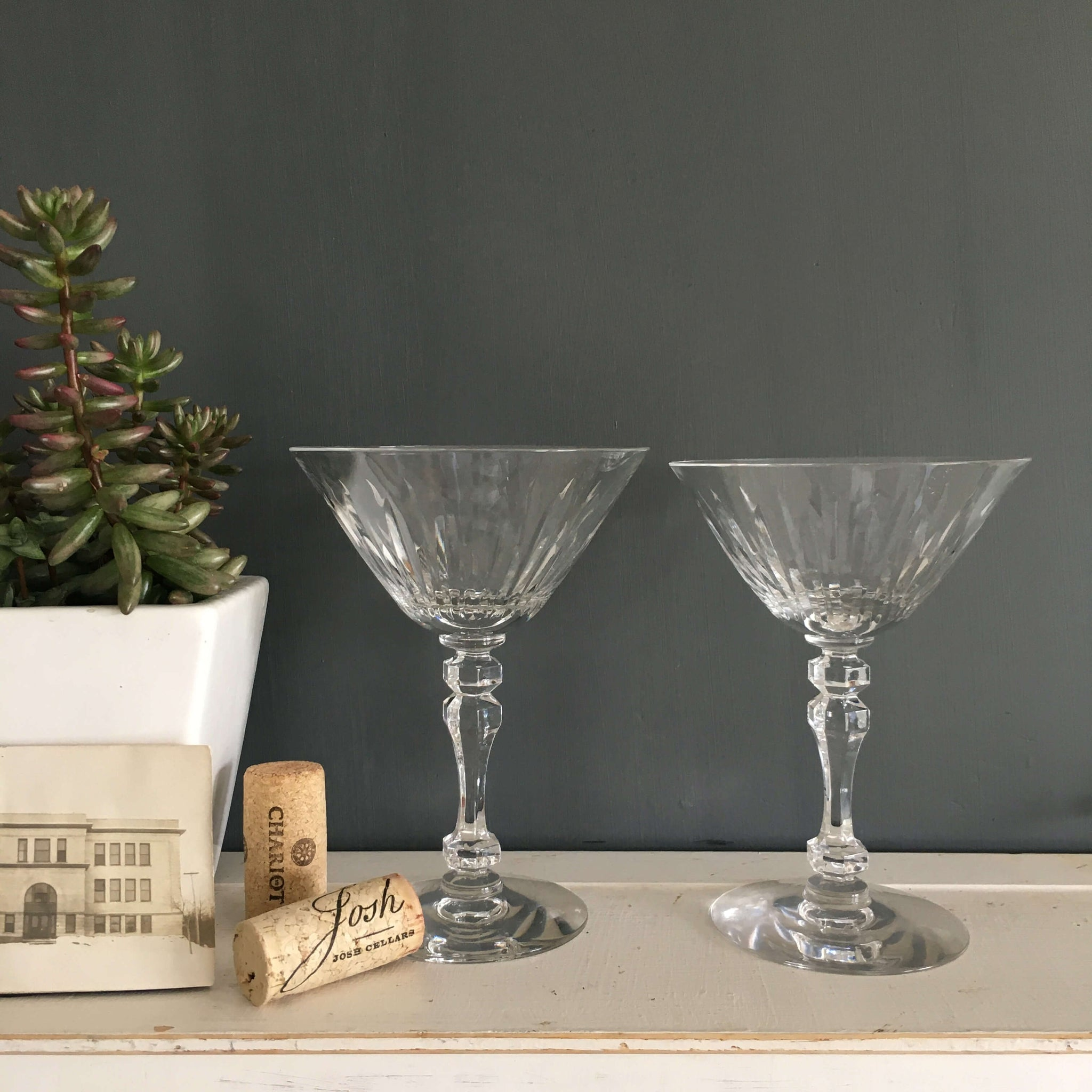 Vintage Cut Glass Stemware - Set of Two - Vintage Glassware Wine Cocktail Barware
