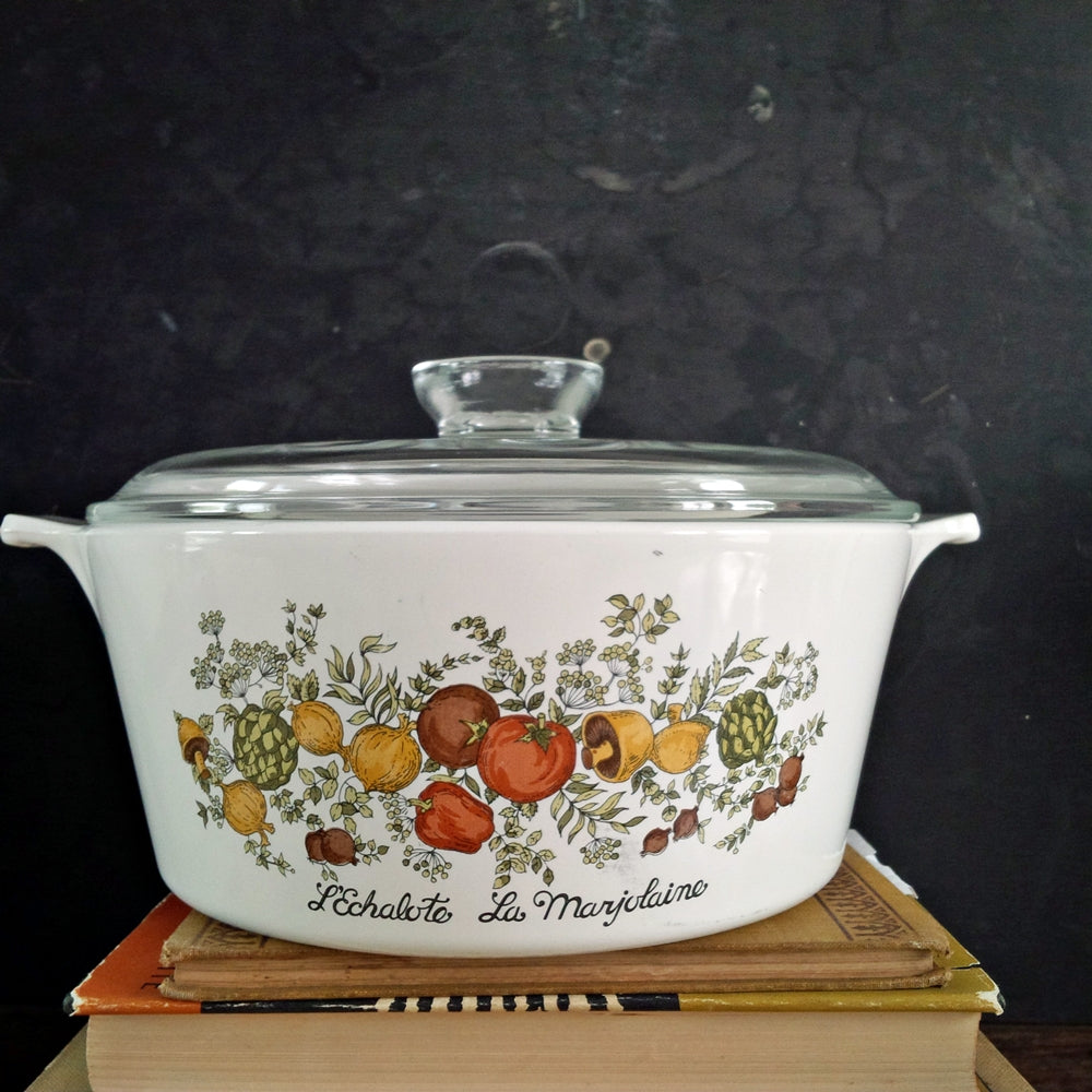 Vintage Corning Ware Spice of Life Large Covered Casserole Dishes - Set of Two - 2 1/2 Quart Size & 10x10 Dishes L' Echolote La Marjolaine Le Romarin {Reserved for Cynthia}