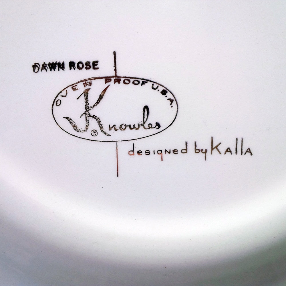 Edwin Knowles Dawn Rose Dinner Plates - 1950s Dinnerware - Designed by Erwin Kalla - Set of Two