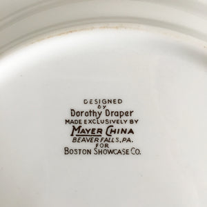 Rare Vintage Dorothy Draper Dinner Plate - Mayer China for Boston Showcase - Rare Collectible Plate