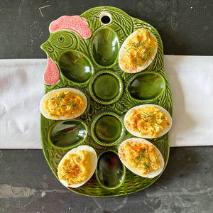 Vintage Deviled Egg Plate - Green Ceramic Chicken Serving Dish circa 1950s/1960s