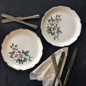 Vintage 1940's Sabin Dogwood Flower Luncheon Plates - Set of Two