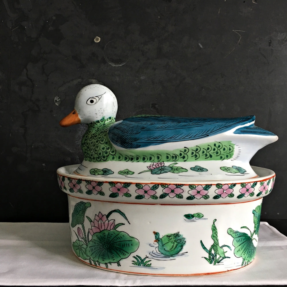 Vintage Midcentury Duck Tureen Covered Dish - Handpainted Asian Ceramic Dish
