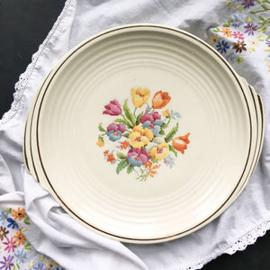 Rare Vintage 1930's Edwin Knowles Round Platter - Floral Cross CrossStitch Embroidery Pattern Yorktown Shape