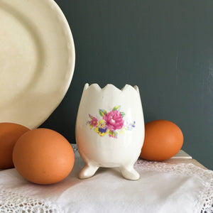 Vintage Footed Egg Cup Holder Vase  - Floral Pattern with Jagged Edge