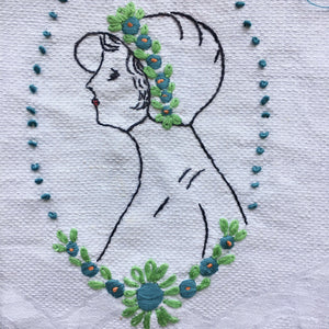 Vintage Embroidered Portrait of a Lady Hand Towel  with Ribbon and Flowers