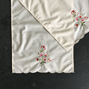 Vintage Cotton Embroidered Kitchen Cloths - Set of Two - Scalloped Edges
