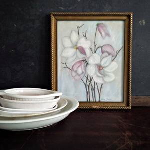 1940s Craypas Drawing - Original Floral Art Signed by the Artist  - Purple Lily Magnolia Flowers