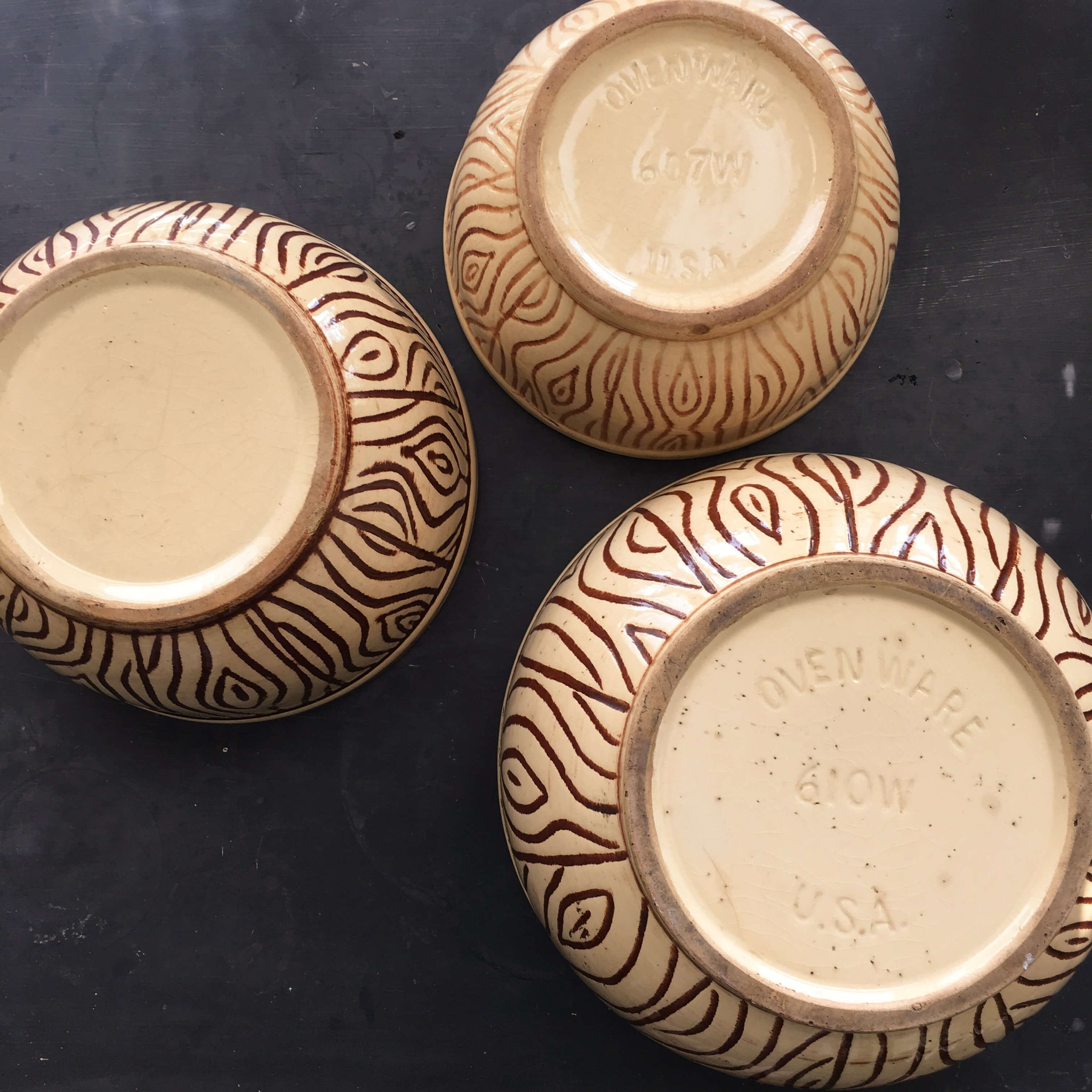 Vintage Watt Wood Grain Mixing Bowls - Very Rare Set of Three Faux Bois Style Nesting Bowls circa 1940s