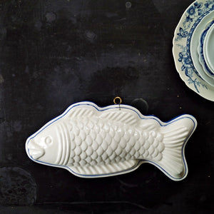 Large Ceramic Fish Mold Wall Hanging - Vintage Blue and White Knobler Japan