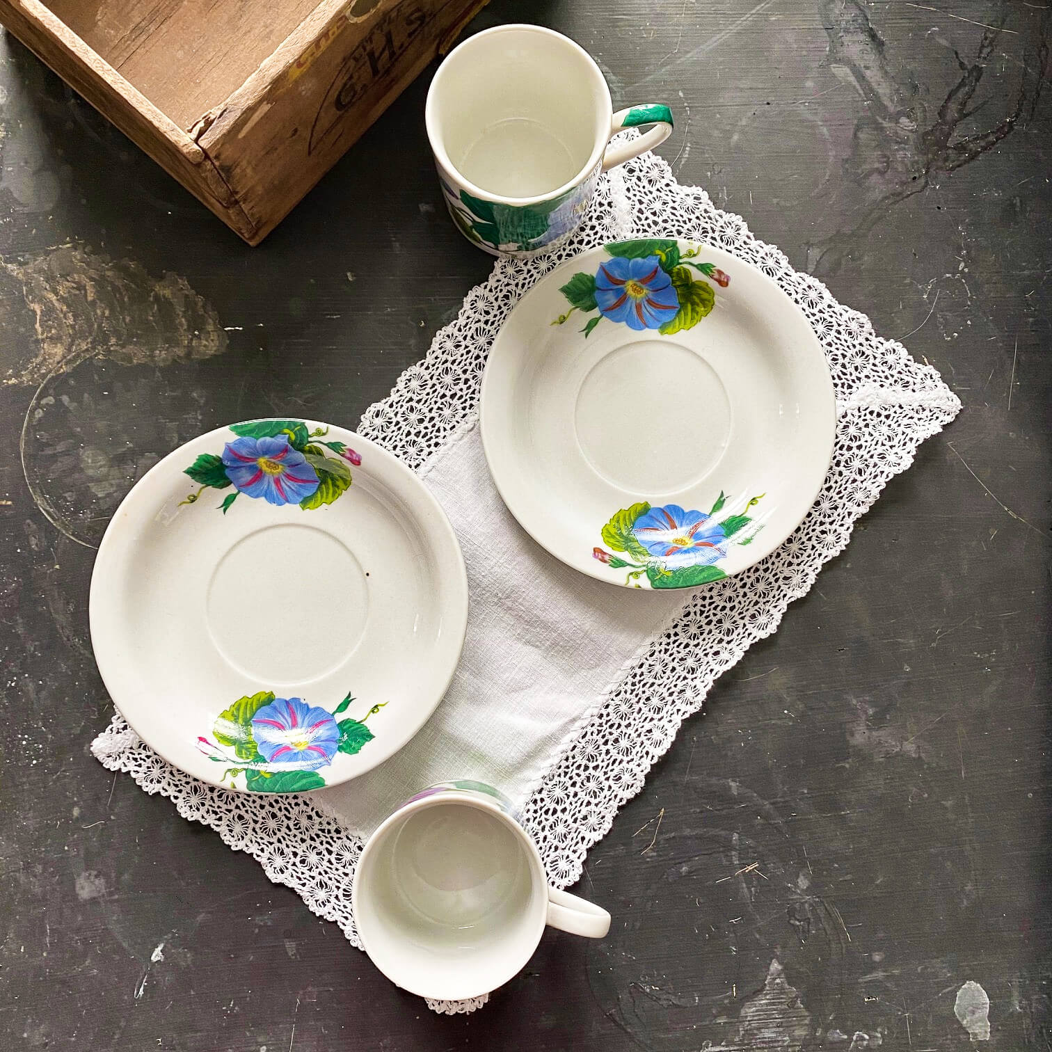 Morning Glory Demitasse Cups and Saucers - Pair of Two