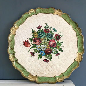 Vintage Green and Gold Florentine Tray - Round Floral Tray - Handmade in Italy