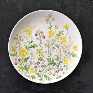 Vintage Noritake Flower Power Dinner Plate  - 1970s Botanical Dishware by Noritake Craftone  Japan