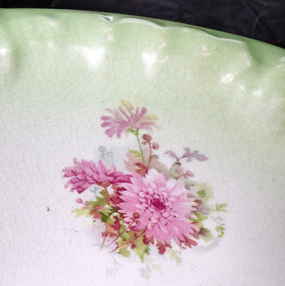 Large Antique Ironstone Wash Basin  - Green and White Embossed Pattern with Purple Flowers