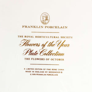Royal Horticultural Society Flower of the Year Plate - October - Illustrated by Leslie Greenwood