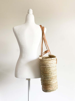 French Market Bag - Handwoven Palm Leaf Bag with Leather Handles and Shoulder Straps