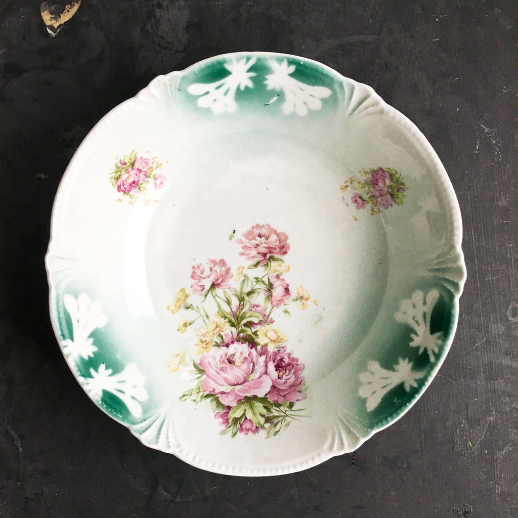 Antique German Porcelain Bowl - Pink Peonies - Teal Handpainted Florals Embossed Edges circa 1920's -1930s