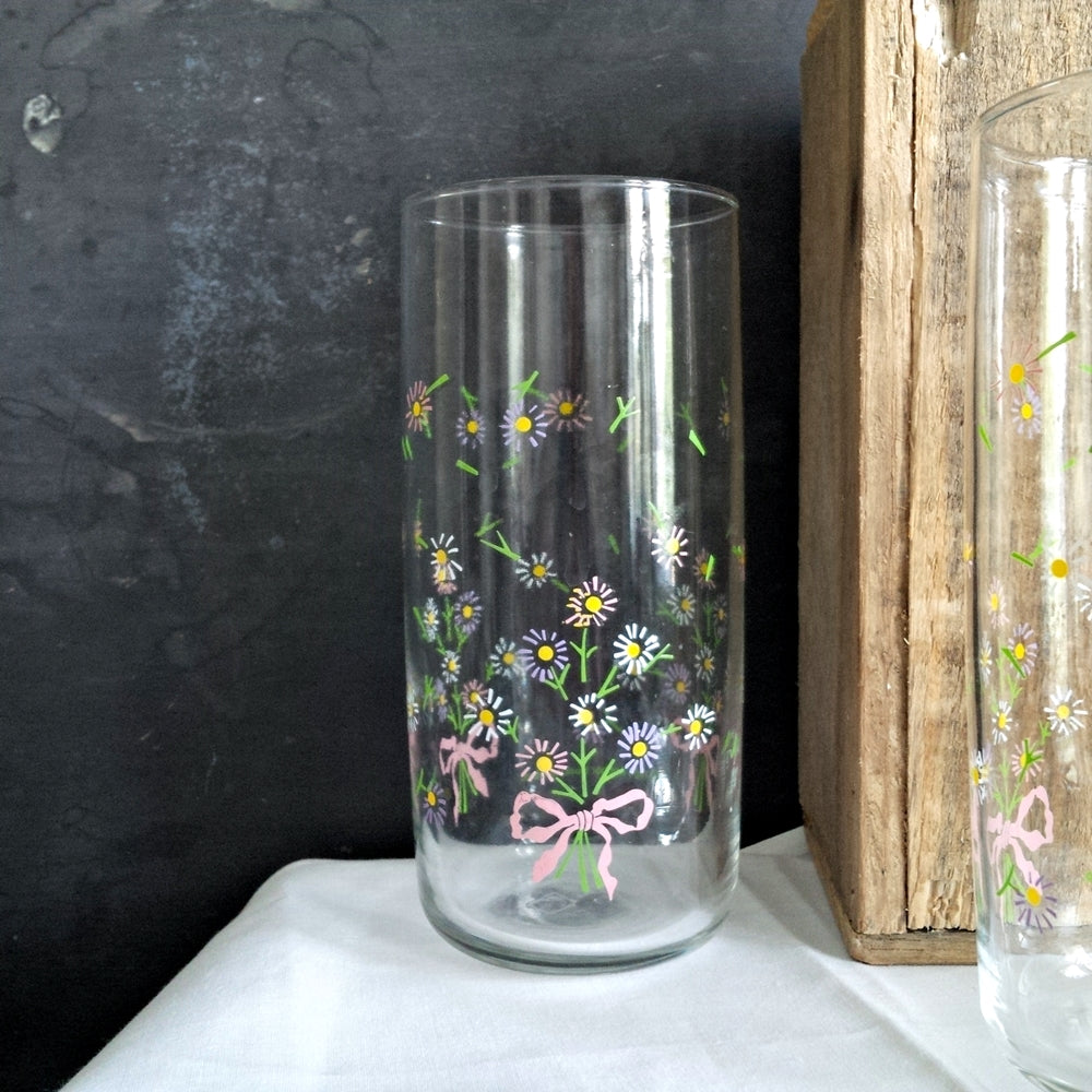 Vintage Anchor Hocking 16oz Floral Drinking Glasses - Floral Ribbon Bouquets - 1980s Lemonade Glasses - Set of 4