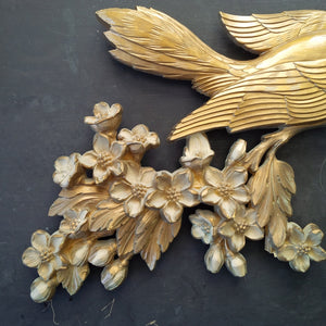 Vintage 1960s Golden Bird Wall Art - Syroco Decorative Wall Plaque - Gold Metallic Floral