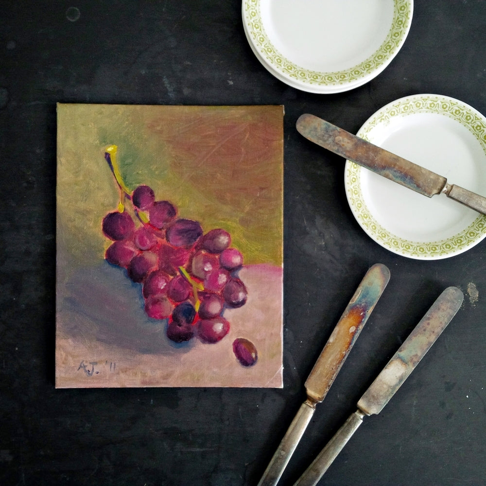8x10 Portrait Painting of Grapes - Original Acrylic Still Life - Signed by the Artist