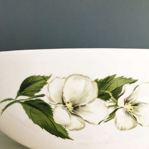 Vintage 1940s Homer Laughlin Rhythm White Flower Gravy Boat