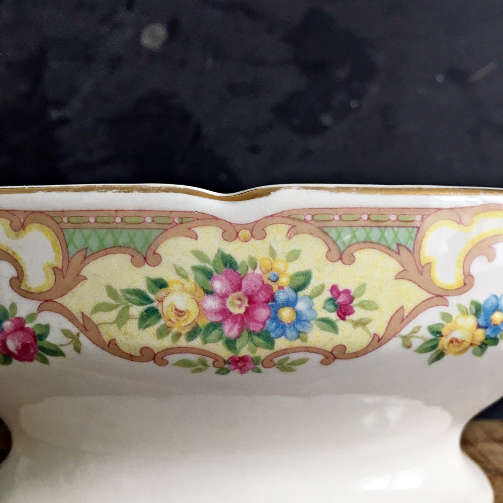 Vintage 1930s Floral Gravy Boat - Mount Clemens Pottery - Mildred Pattern with Scalloped Rim, Gold Accents, USA Backstamp