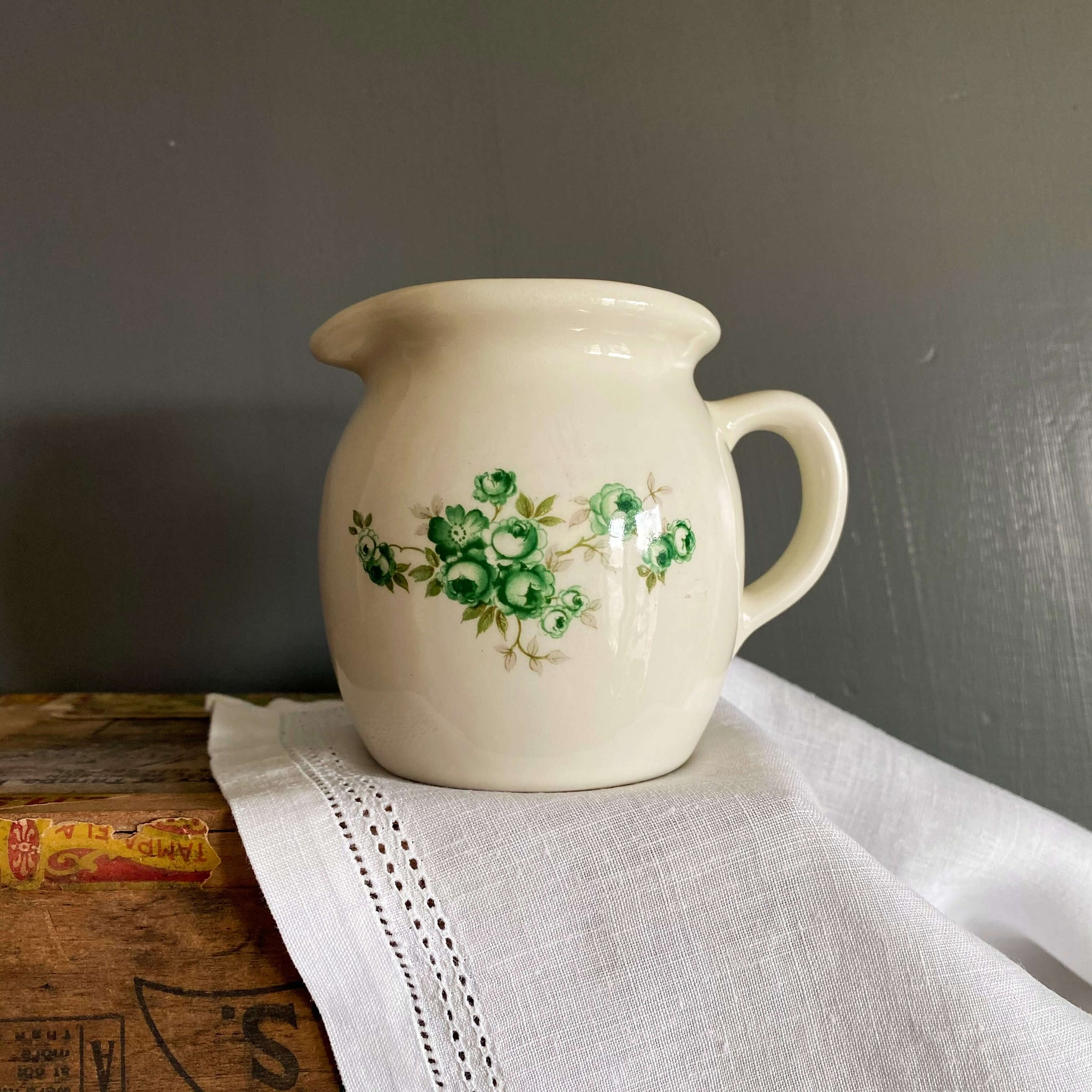 Vintage Creamer with Green Cabbage Roses