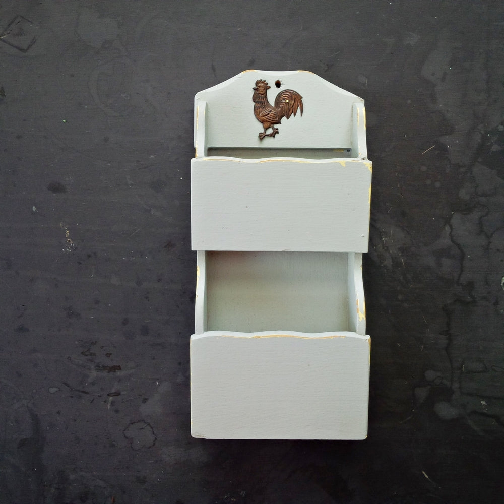 Vintage Grey Wood Pocket Shelf Organizer - Two Tiered Boxes with Rooster - Tilso Japan
