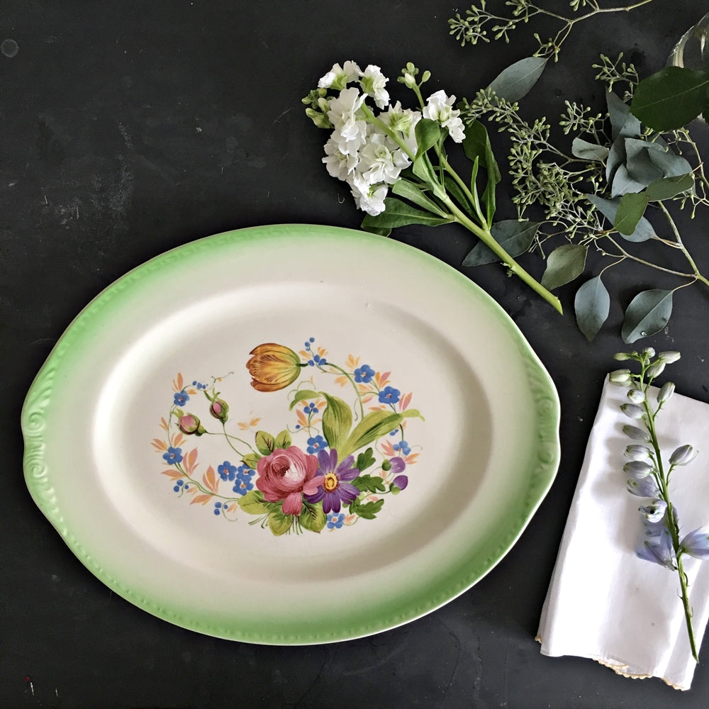Rare Vintage 1970s Homer Laughlin Floral Platter - Green Spray Rim Tulip and Roses Centerpiece