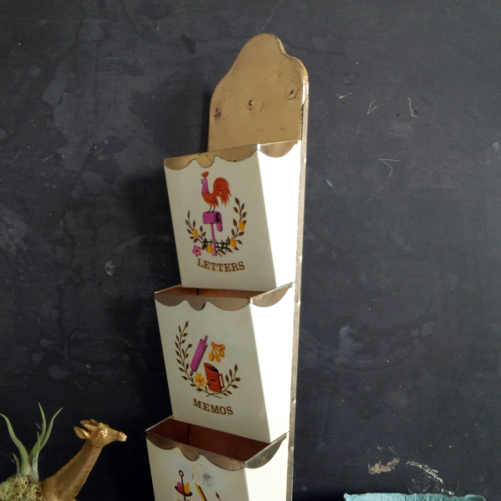 Vintage Metal Wall Holder Pocket Organizer with Three Tiers for Letters, Memos & Misc. circa 1950's