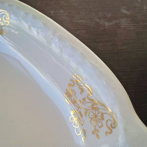 Antique Homer Laughlin Ironstone Platter - Hudson Pattern with Golden Flowers