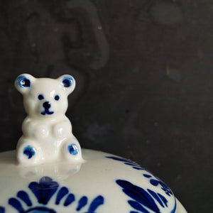 Vintage Delft Blue Honey Jar with Teddy Bear Lid - Handpainted Blue and White D.A.I.C. Teddy Bear Pattern
