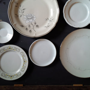 The Honeymoon Collection - Vintage Mix & Match China Collection-  Silver & White - Six Pieces