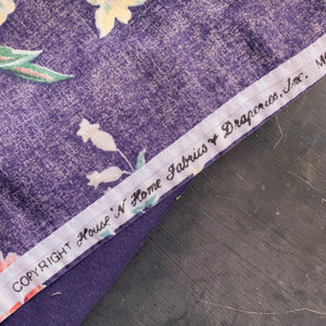 Vintage 1980s House 'N Home Purple Floral Fabric - Tablecloth or Picnic Blanket 52x68