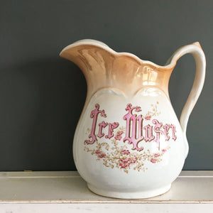 Antique Ice Water Pitcher- Rare Homer Laughlin Hotelware - Circa 1900 - Large Size
