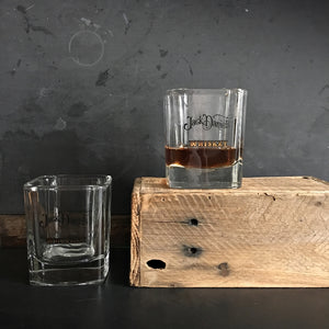 Vintage Jack Daniel's Whiskey Tumbler Glasses- Pair of 2 - Square Rocks Glasses