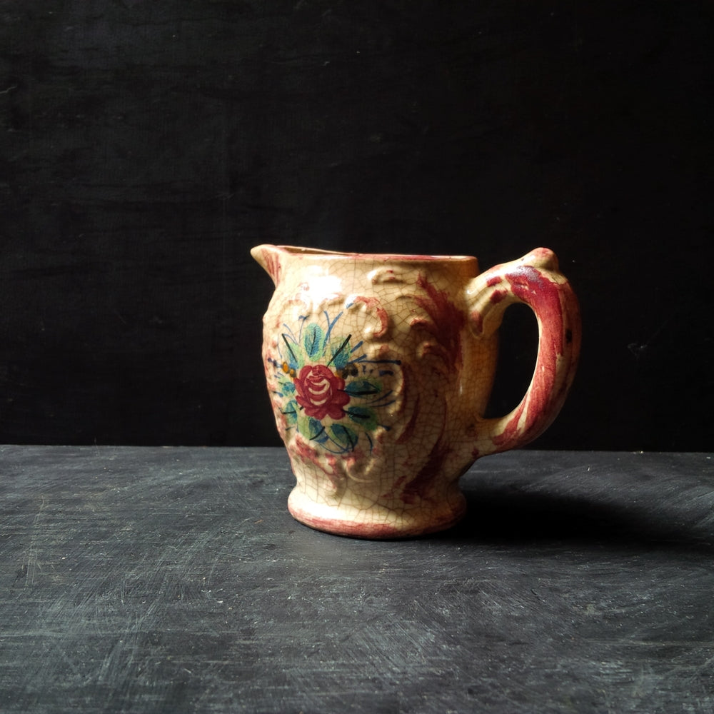 Vintage 1940's Japanese Majolica Pitcher - Handpainted Earthenware Pottery - Made in Japan