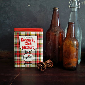 Vintage Midcentury Tobacco Tin - Aromatic Kentucky Club Mixture - Red Plaid Equestrian Tin