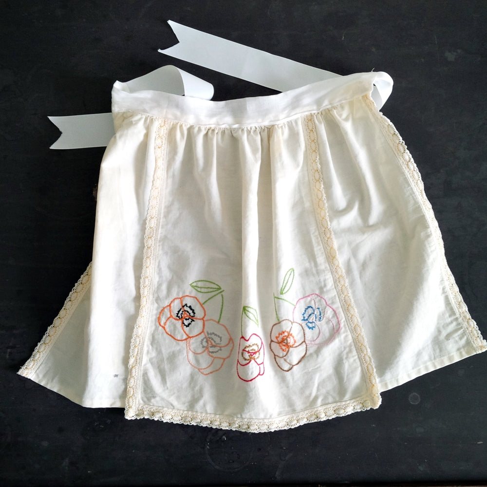 Vintage Children's Tea Towel Apron with Embroidered Flowers
