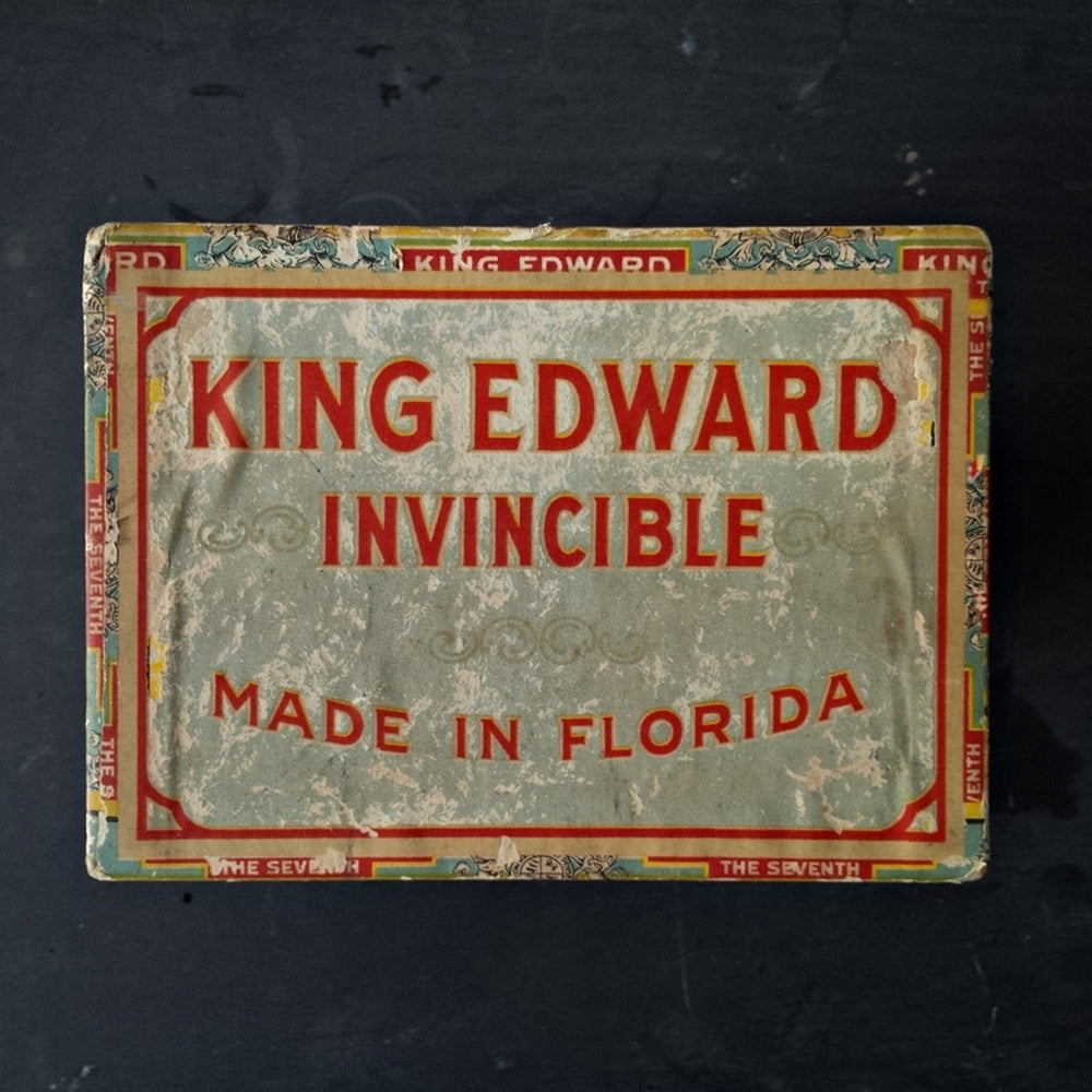 King Edward the Seventh Invincible Cigar Box - 1920s Extra Large Storage Container - Original Paper & King Edward the Seventh Invincible Cigar Box - 1920s Extra Large ...