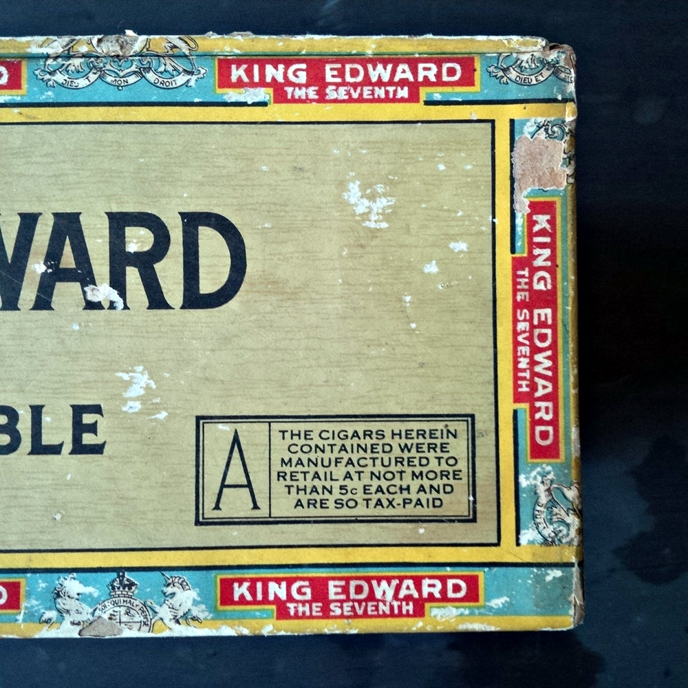 King Edward the Seventh Invincible Cigar Box - 1920s Extra Large Storage Container - Original Paper Labels